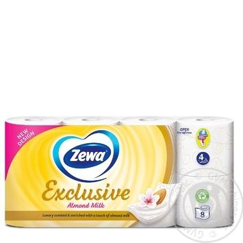 Туалетная бумага Zewa Exclusive Almond Milk белая 4-х слойная 8 рулонов - купить, цены на МегаМаркет - фото 2