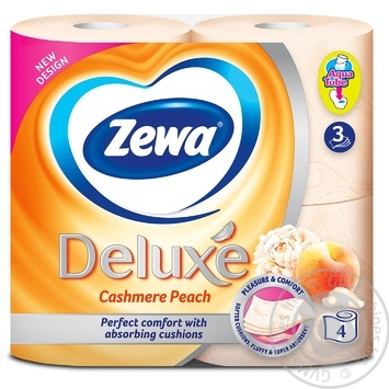 Туалетная бумага Zewa Deluxe Cashmere Peach 3-х слойная 4шт - купить, цены на МегаМаркет - фото 2