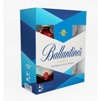 Виски Ballantine's Finest 40% 0,7л + 2 бокала - купить, цены на МегаМаркет - фото 1