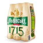 Пиво Львовское 1715 светлое пастеризованное 6шт 4.7% 0,45л - купить, цены на Метро - фото 1