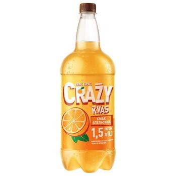 Напиток брожения Квас Тарас Crazy Kvas нефильтрованный пастеризованный сильногазированый хлебный вкус апельсина 1,5л