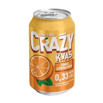 Напиток брожения Квас Тарас Crazy Kvas нефильтрованный пастеризованный сильногазированый хлебный вкус апельсина 0,33л - купить, цены на Метро - фото 1