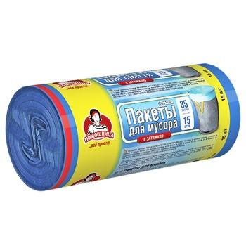 Пакеты для мусора Помощница с затяжками 35л 15шт - купить, цены на Ашан - фото 2