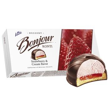 Десерт Конти Бонжур клубника со сливками 232г - купить, цены на Ашан - фото 3