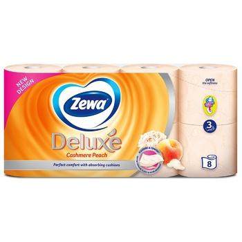 Туалетний папір Zewa Deluxe Персик персиковий трьохшаровий 8шт - купити, ціни на Восторг - фото 2