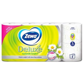 Папір туалетний Zewa Deluxe Ромашка білий тришаровий 8шт - купити, ціни на ЕКО Маркет - фото 2