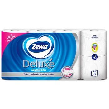 Туалетная бумага Zewa Deluxe Delicate Care белая 3-х слойная 8шт - купить, цены на Ашан - фото 2