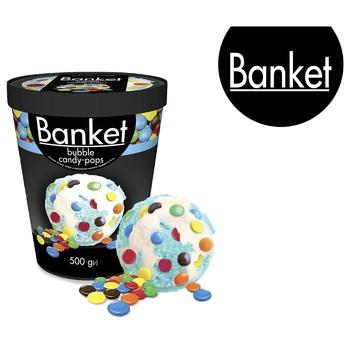 Мороженое Ласунка Banket Bubble Candy-Pops пломбир со вкусом жевательной резинки с драже 500г - купить, цены на СитиМаркет - фото 2