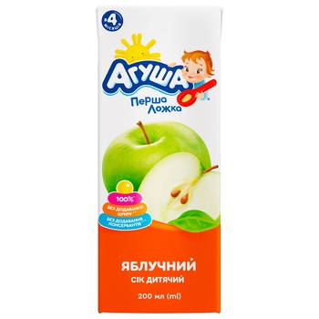 Сок Агуша яблочный без сахара для детей с 4 месяцев 200мл - купить, цены на СитиМаркет - фото 2
