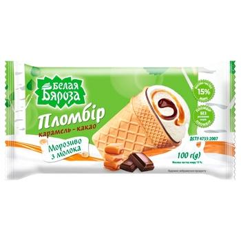 Морозиво Белая Бяроза Пломбір карамель-какао 90г - купити, ціни на CітіМаркет - фото 2