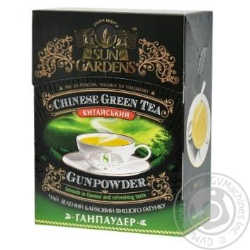 Зеленый чай Сан Гарденс китайский байховый крупнолистовой высшего сорта Ганпаудер 100г Украина - купить, цены на Novus - фото 1