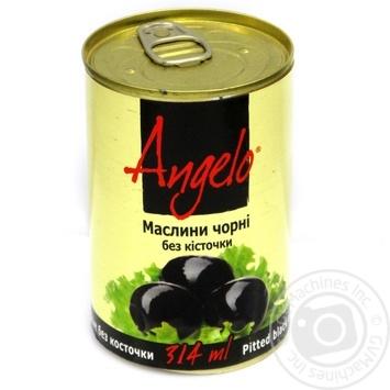 Оливки чорні без кісточки Angelo залізна банка 314г