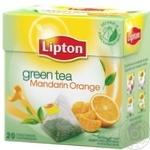 Зеленый чай Липтон Мандарин Оранж байховый ароматизированный с цедрой цитрусовых в пакетиках 20х1.8г