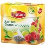 Чорний чай Ліптон Виноград Малина байховий ароматизований в пакетиках 20х1.8г