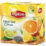 Чорний чай Ліптон Цитрус байховий з цедрою цитрусових в пакетиках 20х1.8г