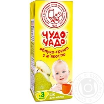 Скидка на Сок Чудо-Чадо яблочно-грушевый с мякотью с 3-ох месяцев 200мл пэт Украина