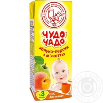 Скидка на Сок Чудо-Чадо яблочно-персиковый с мякотью с 3-ох месяцев 200мл пэт Украина