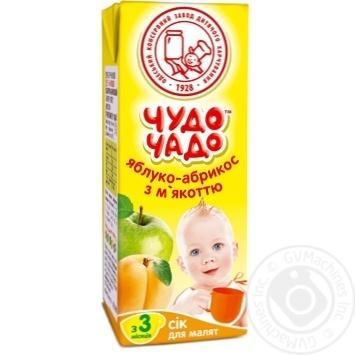 Скидка на Сок Чудо-Чадо яблочно-абрикосовый с мякотью с 3-ох месяцев 200мл пэт Украина