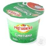 Сметана Президент 20% пластиковый стакан 200г Украина