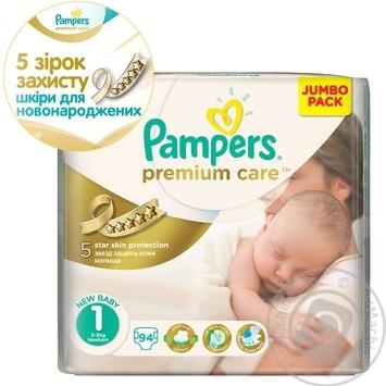 Пiдгузники дитячі Pampers Premium Care Newborn 2-5 кг Джамбо 94шт