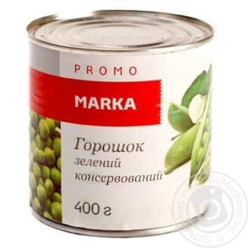 Горошок зелений консервований зі свіжого зеленого горошку мозкових сортів Marka Promo банка жестяна 400г