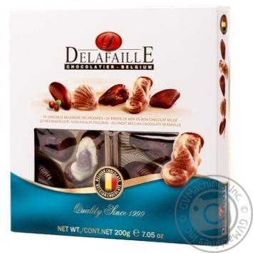 Цукерки шоколаді Delafaille Асорті Seashells sguare 200г