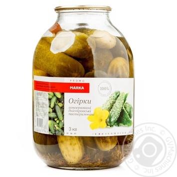 Vegetables cucumber Marka promo canned 3885g glass jar Ukraine