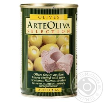 Оливки зеленые Arte Oliva с тунцом 300г - купить, цены на Novus - фото 1