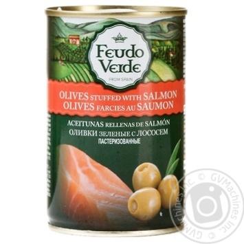 Оливки з лососем консервовані пастеризовані Feudo Verde 300г