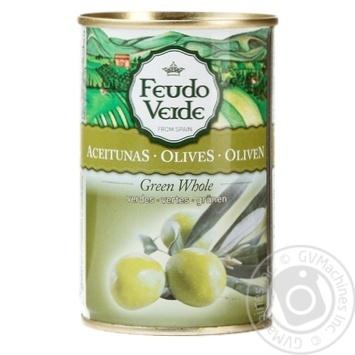 Оливки з кісточкою консервовані пастеризовані Feudo Verde 300г