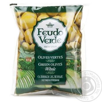 Оливки з кісточкою консервовані пастеризовані Feudo Verde 170г
