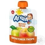 Пюре фруктовое Агуша Я Сам! Яблоко-Персик протертое для детей с 6 месяцев дой-пак 90г Испания