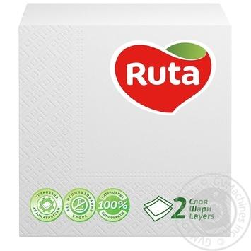 Салфетки Ruta Double Luxe белые бумажные 2-слойные 24*24см 40шт - купить, цены на Novus - фото 1