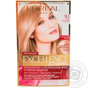 Крем-краска для волос L'Oreal Excellence Creme 9.1 очень светло-русый пепельный