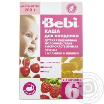 Каша детская Беби Печенье с малиной и вишней для полдника молочная пшеничная сухая быстрорастворимая с 6 месяцев 200г