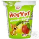 Йогурт Галичина Том и Джерри яблоко-груша 2.5% 120г пластиковый стакан Украина