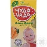 Sterilized homogenized juice Chudo-Chado apple-apricot with pulp and sugar for 3+ months babies tetra pak 125ml Ukraine