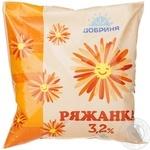 Ряженка Добрыня 3.2% 500г пленка Украина