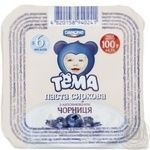 Cottage cheese Tema Blueberry for 6+ month babies 4.2% 100g plastic cup Ukraine