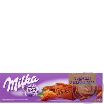 Шоколад молочный Милка с целым миндалем и с добавлением альпийского молока 200г плиточный