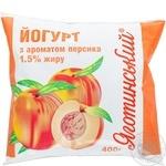 Йогурт Яготинский 1,5% персик в полиэтиленовой упаковке 400г