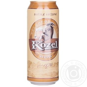 Пиво Велкопоповицкий Козел светлое пастеризованное железная банка 3.7%об. 500мл Украина