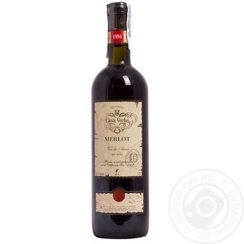 Вино красное Каса Вече Мерло натуральное виноградное сухое 12% 750мл