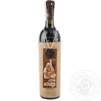Вино красное Душа Монаха натуральное виноградное ординарное из смеси сортов полусладкое 12% стеклянная бутылка 700мл Молдавия