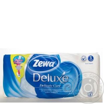 Скидка на Туалетная бумага Zewa Deluxe белая трехслойная 8 рулонов