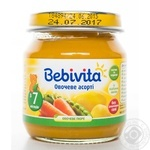 Пюре овощное Бебивита Овощное ассорти без соли для детей с 7 месяцев стеклянная банка 100г