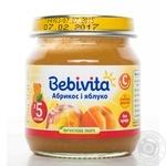 Пюре фруктовое Бебивита Абрикос-Яблоко без сахара с витамином С для детей с 5 месяцев стеклянная банка 100г Россия