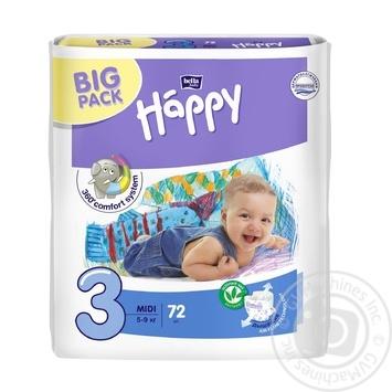 Дитячі підгузники BELLA BABY HAPPY MIDI 72 ШТ. GREEN TEA