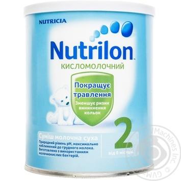 Смесь молочная Нутриция Нутрилон 2 Кисломолочный сухая для детей с 6 месяцев железная банка 400г - купить, цены на Ашан - фото 1