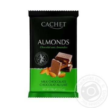 Шоколад молочный Cachet с миндалем 300г - купить, цены на Novus - фото 1
